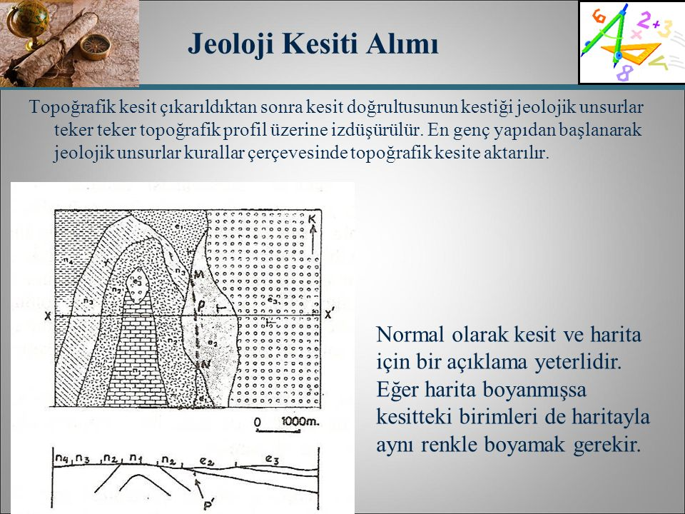 Jeoloji Kesiti Alımı Topoğrafik kesit çıkarıldıktan sonra kesit doğrultusunun kestiği jeolojik unsurlar teker teker topoğrafik profil üzerine izdüşürü