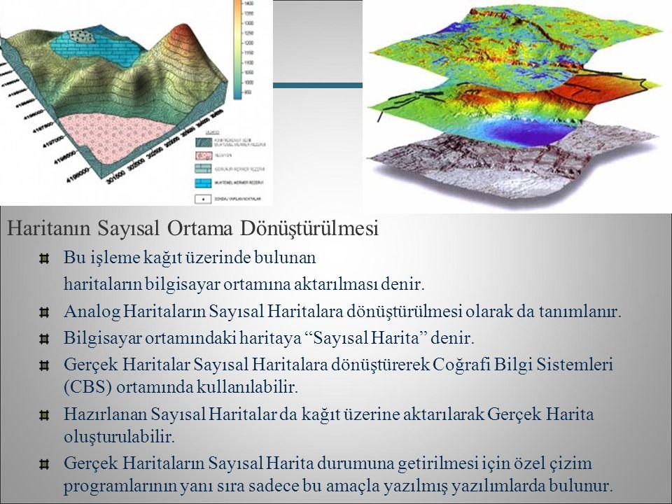 Haritanın Sayısal Ortama Dönüştürülmesi Bu işleme kağıt üzerinde bulunan haritaların bilgisayar ortamına aktarılması denir. Analog Haritaların Sayısal