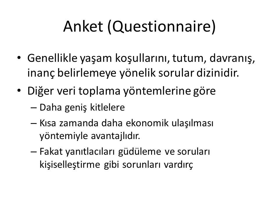 Anket (Questionnaire) Genellikle yaşam koşullarını, tutum, davranış, inanç belirlemeye yönelik sorular dizinidir.