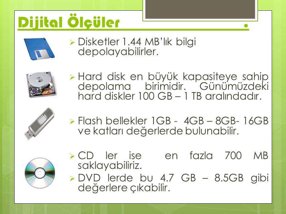 Dijital Ölçüler.  Disketler 1.44 MB'lık bilgi depolayabilirler.  Hard disk en büyük kapasiteye sahip depolama birimidir. Günümüzdeki hard diskler 10