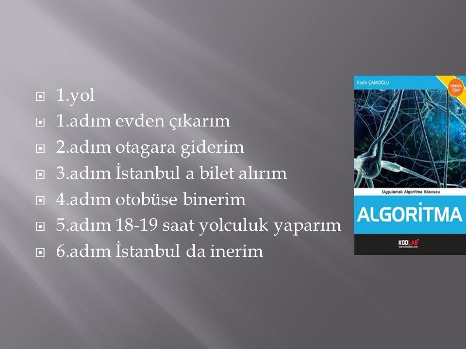  2.yol  1.adım evden çıkarım  2.adım hava alanına giderim  3.adım İstanbula bilet alırm  4.adım uçağa binerim  5.adım 2 saat yolculuk yaparım  6.adım İstambul da inerim