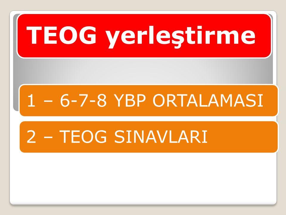 TEOG yerleştirme 1 – 6-7-8 YBP ORTALAMASI2 – TEOG SINAVLARI