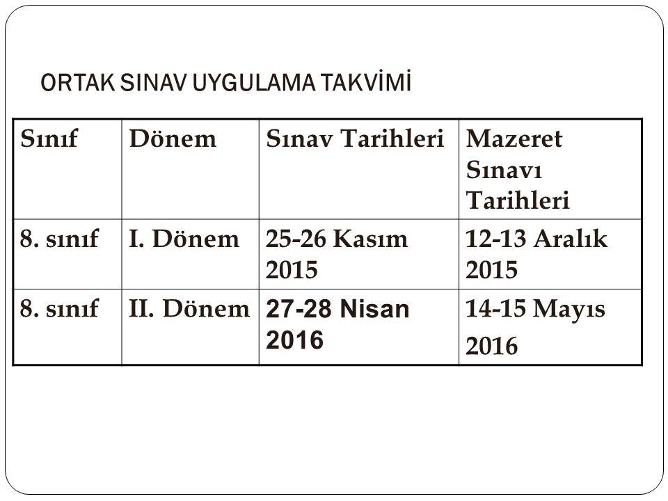 ORTAK SINAV UYGULAMA TAKVİMİ SınıfDönemSınav TarihleriMazeret Sınavı Tarihleri 8. sınıfI. Dönem25-26 Kasım 2015 12-13 Aralık 2015 8. sınıfII. Dönem 27