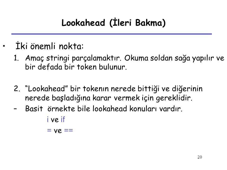 """20 Lookahead (İleri Bakma) İki önemli nokta: 1.Amaç stringi parçalamaktır. Okuma soldan sağa yapılır ve bir defada bir token bulunur. 2.""""Lookahead"""" bi"""