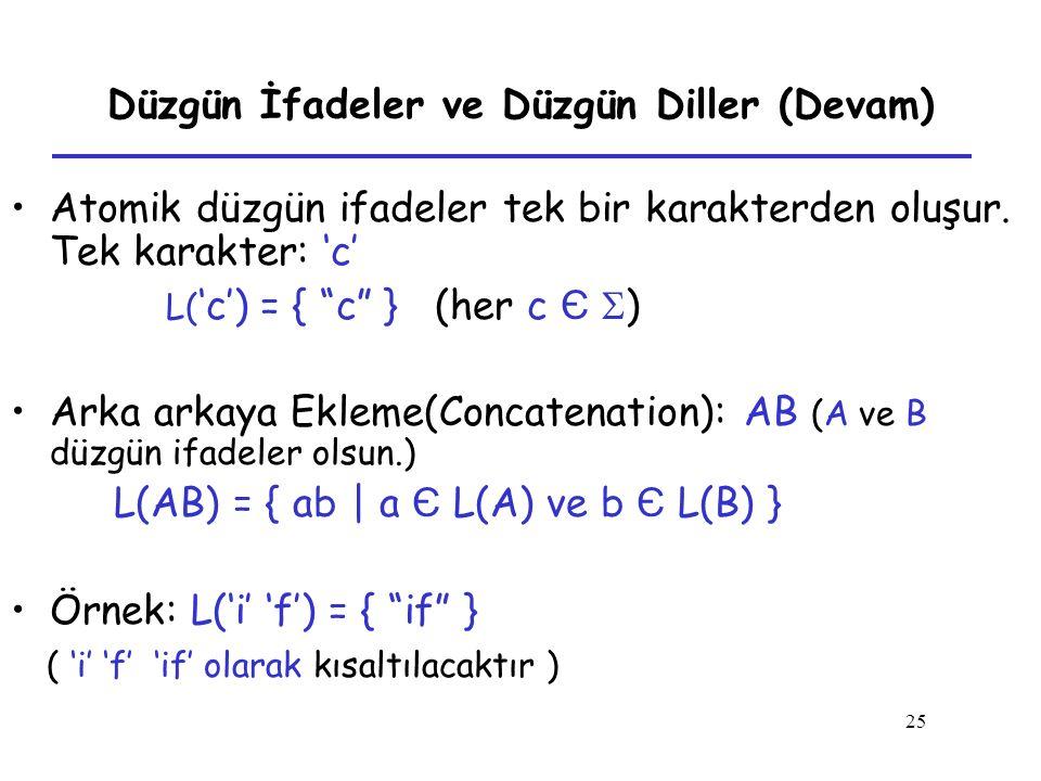 """25 Düzgün İfadeler ve Düzgün Diller (Devam) Atomik düzgün ifadeler tek bir karakterden oluşur. Tek karakter: 'c' L( 'c') = { """"c"""" } (her c Є  ) Arka a"""
