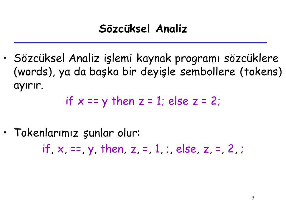 3 Sözcüksel Analiz Sözcüksel Analiz işlemi kaynak programı sözcüklere (words), ya da başka bir deyişle sembollere (tokens) ayırır. if x == y then z =