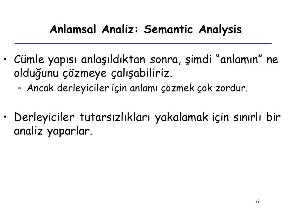 """6 Anlamsal Analiz: Semantic Analysis Cümle yapısı anlaşıldıktan sonra, şimdi """"anlamın"""" ne olduğunu çözmeye çalışabiliriz. –Ancak derleyiciler için anl"""