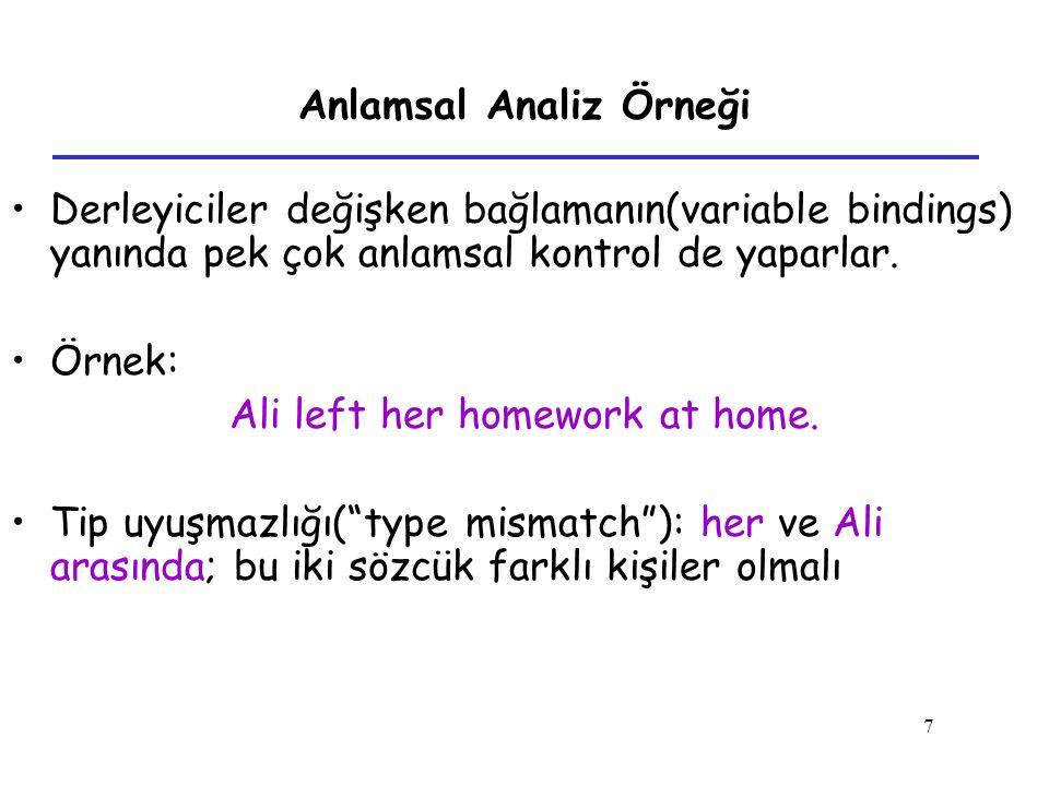7 Anlamsal Analiz Örneği Derleyiciler değişken bağlamanın(variable bindings) yanında pek çok anlamsal kontrol de yaparlar. Örnek: Ali left her homewor