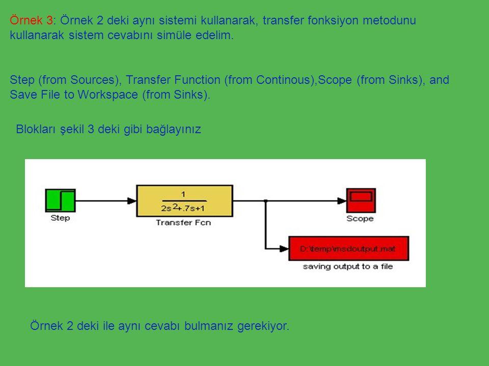 Örnek 3: Örnek 2 deki aynı sistemi kullanarak, transfer fonksiyon metodunu kullanarak sistem cevabını simüle edelim. Step (from Sources), Transfer Fun