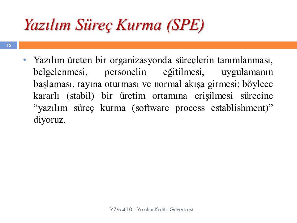 Yazılım Süreç Kurma (SPE) YZM 410 - Yazılım Kalite Güvencesi 15 Yazılım üreten bir organizasyonda süreçlerin tanımlanması, belgelenmesi, personelin eğ
