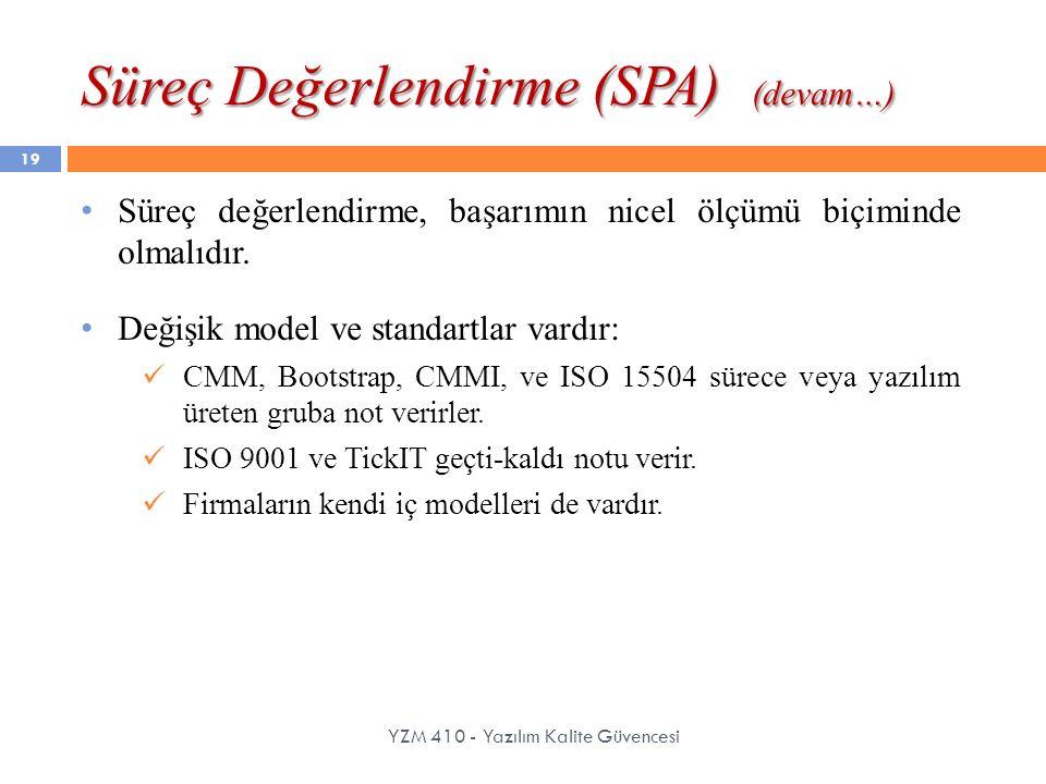 Süreç Değerlendirme (SPA) (devam…) YZM 410 - Yazılım Kalite Güvencesi 19 Süreç değerlendirme, başarımın nicel ölçümü biçiminde olmalıdır. Değişik mode