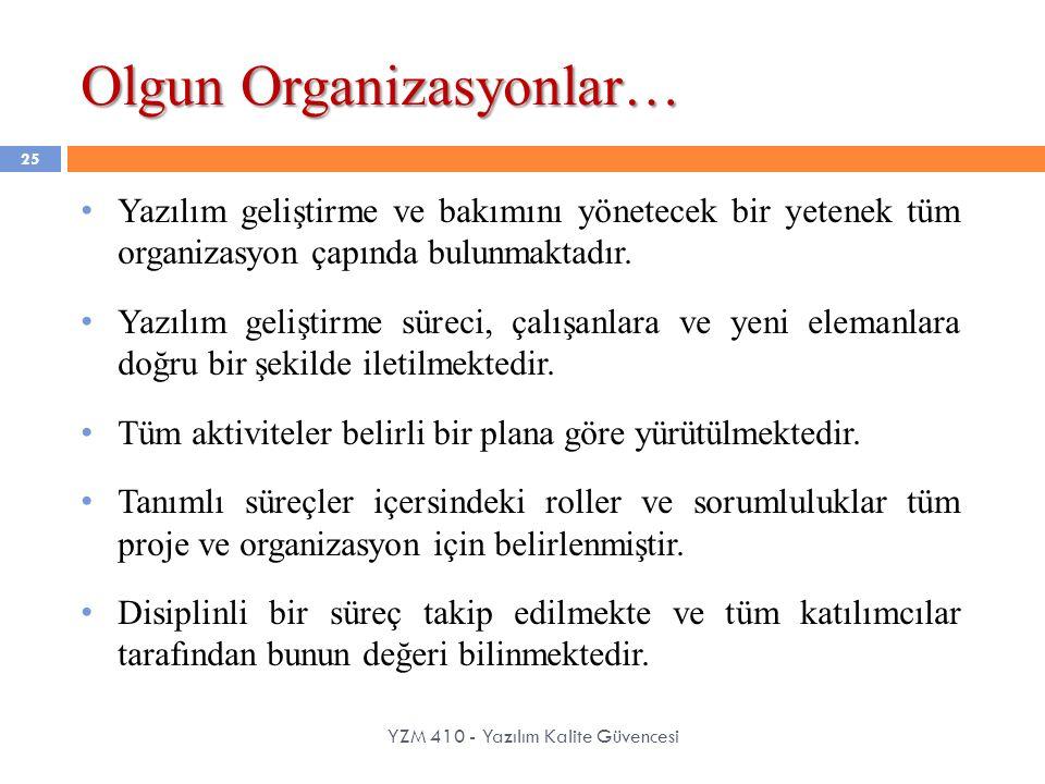 Olgun Organizasyonlar… YZM 410 - Yazılım Kalite Güvencesi 25 Yazılım geliştirme ve bakımını yönetecek bir yetenek tüm organizasyon çapında bulunmaktad