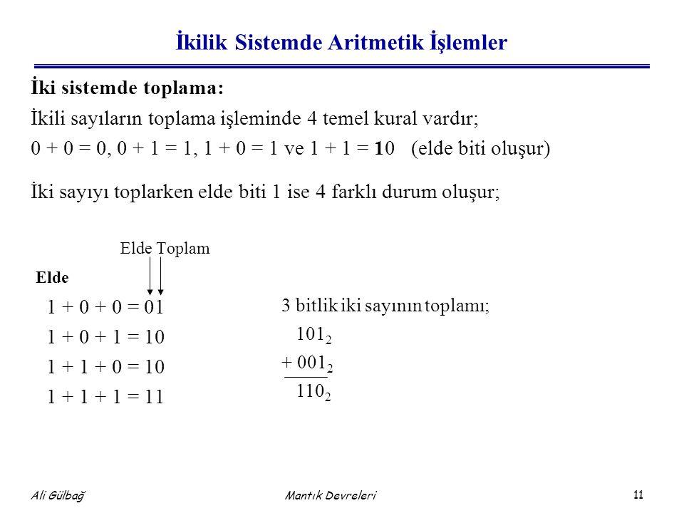 11 Ali Gülbağ Mantık Devreleri İkilik Sistemde Aritmetik İşlemler İki sistemde toplama: İkili sayıların toplama işleminde 4 temel kural vardır; 0 + 0