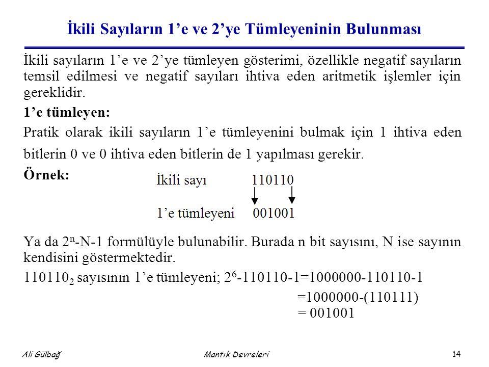 14 Ali Gülbağ Mantık Devreleri İkili Sayıların 1'e ve 2'ye Tümleyeninin Bulunması İkili sayıların 1'e ve 2'ye tümleyen gösterimi, özellikle negatif sa