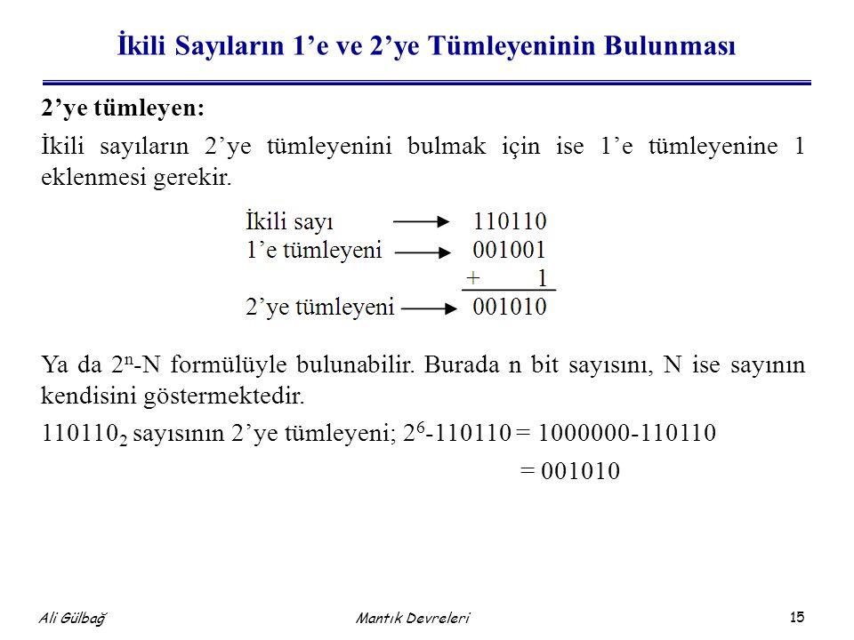 15 Ali Gülbağ Mantık Devreleri İkili Sayıların 1'e ve 2'ye Tümleyeninin Bulunması 2'ye tümleyen: İkili sayıların 2'ye tümleyenini bulmak için ise 1'e