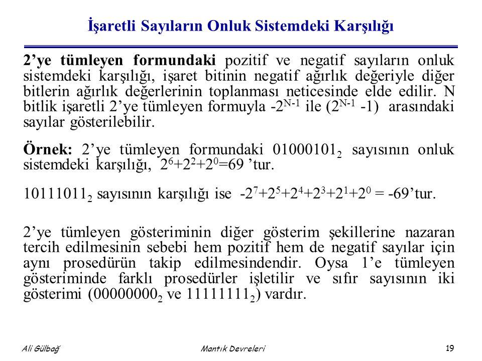 19 Ali Gülbağ Mantık Devreleri İşaretli Sayıların Onluk Sistemdeki Karşılığı 2'ye tümleyen formundaki pozitif ve negatif sayıların onluk sistemdeki ka