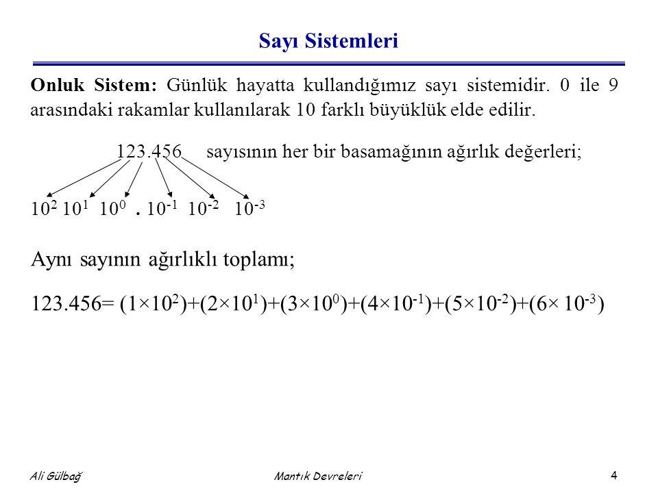 4 Ali Gülbağ Mantık Devreleri Sayı Sistemleri Onluk Sistem: Günlük hayatta kullandığımız sayı sistemidir. 0 ile 9 arasındaki rakamlar kullanılarak 10