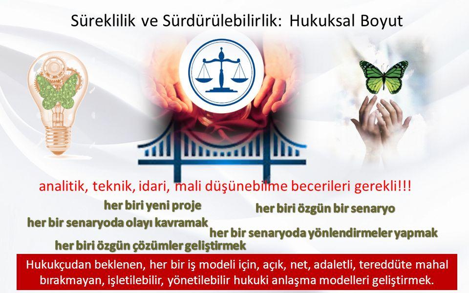 Süreklilik ve Sürdürülebilirlik: Hukuksal Boyut analitik, teknik, idari, mali düşünebilme becerileri gerekli!!.