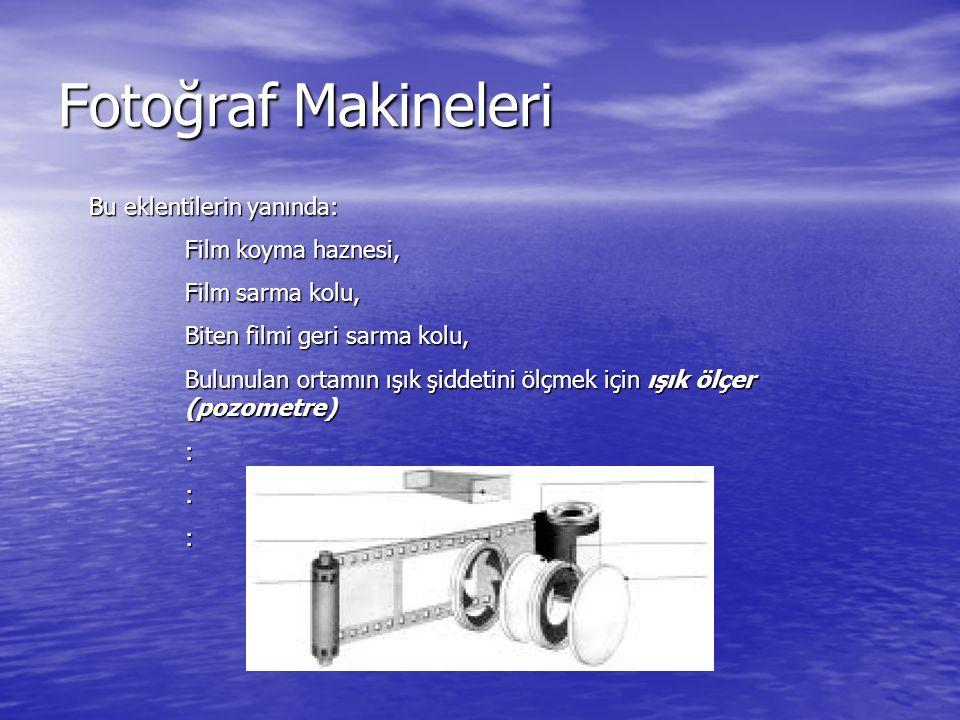 Fotoğraf Makineleri Bu eklentilerin yanında: Film koyma haznesi, Film sarma kolu, Biten filmi geri sarma kolu, Bulunulan ortamın ışık şiddetini ölçmek
