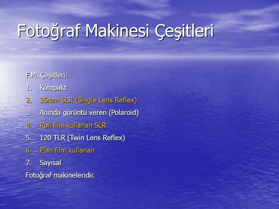 Fotoğraf Makinesi Çeşitleri F.M. Çeşitleri: 1.Kompakt 2.35mm SLR (Single Lens Reflex) 3.Anında görüntü veren (Polaroid) 4.Roll film kullanan SLR 5.120