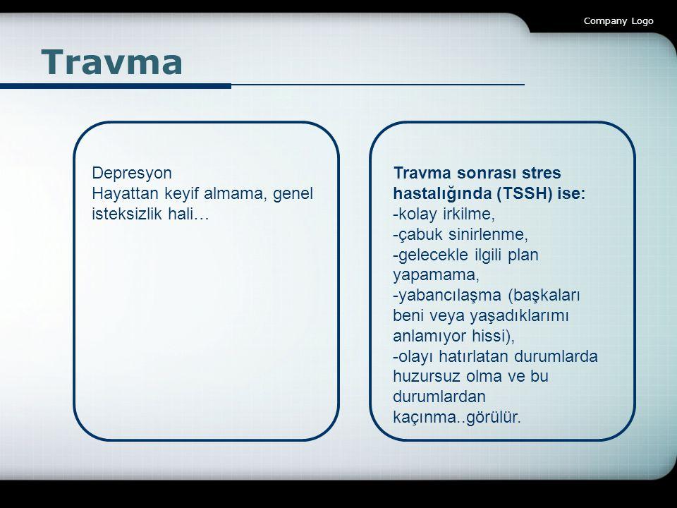 Company Logo Travma Depresyon Hayattan keyif almama, genel isteksizlik hali… Travma sonrası stres hastalığında (TSSH) ise: -kolay irkilme, -çabuk sini