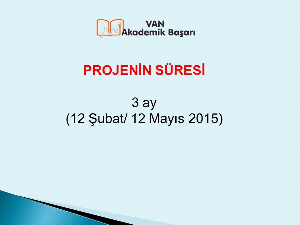 PROJENİN SÜRESİ 3 ay (12 Şubat/ 12 Mayıs 2015)