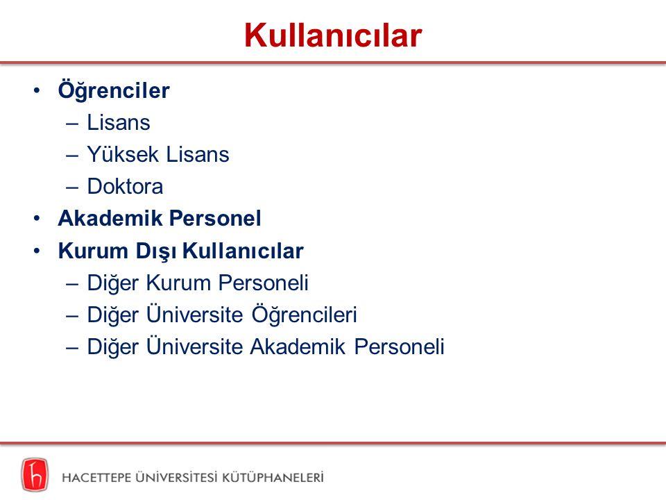 Kullanıcılar Öğrenciler –Lisans –Yüksek Lisans –Doktora Akademik Personel Kurum Dışı Kullanıcılar –Diğer Kurum Personeli –Diğer Üniversite Öğrencileri –Diğer Üniversite Akademik Personeli