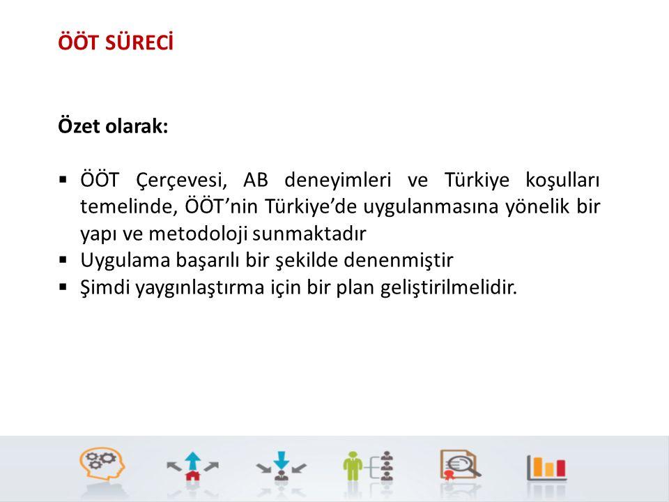 ÖÖT SÜRECİ Özet olarak:  ÖÖT Çerçevesi, AB deneyimleri ve Türkiye koşulları temelinde, ÖÖT'nin Türkiye'de uygulanmasına yönelik bir yapı ve metodoloji sunmaktadır  Uygulama başarılı bir şekilde denenmiştir  Şimdi yaygınlaştırma için bir plan geliştirilmelidir.