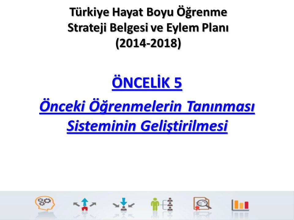 Türkiye Hayat Boyu Öğrenme Strateji Belgesi ve Eylem Planı (2014-2018) ÖNCELİK 5 ÖNCELİK 5 Önceki Öğrenmelerin Tanınması Sisteminin Geliştirilmesi Önc