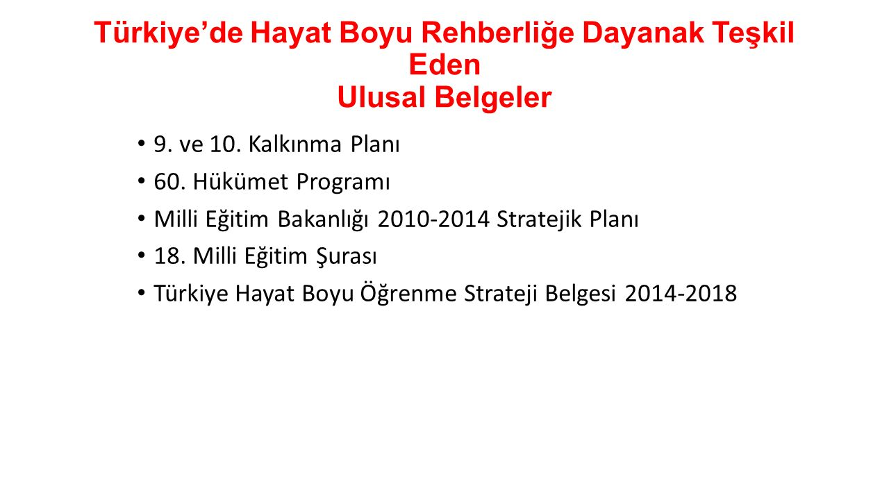 Türkiye'de Hayat Boyu Rehberliğe Dayanak Teşkil Eden Ulusal Belgeler 9. ve 10. Kalkınma Planı 60. Hükümet Programı Milli Eğitim Bakanlığı 2010-2014 St
