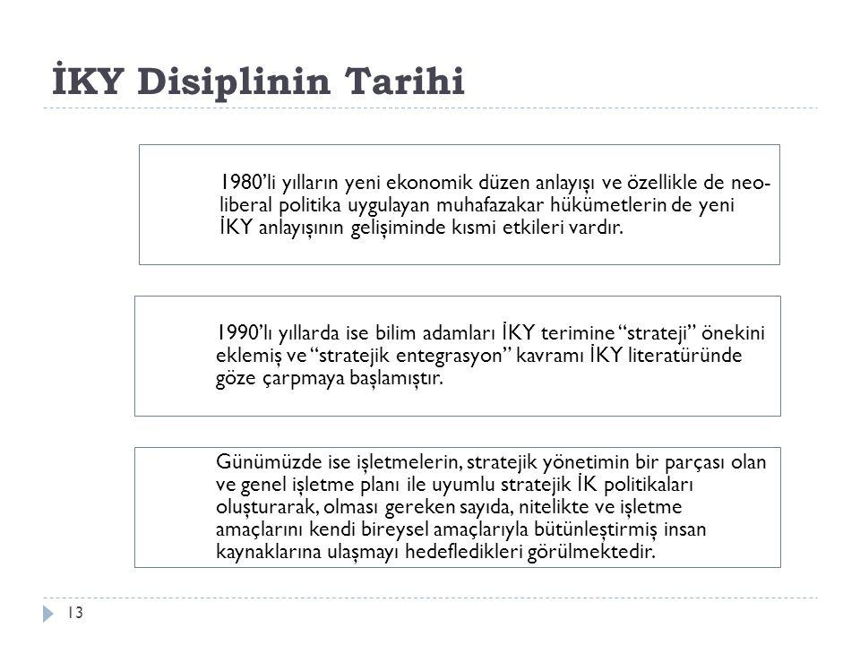 İKY Disiplinin Tarihi 13 1980'li yılların yeni ekonomik düzen anlayışı ve özellikle de neo- liberal politika uygulayan muhafazakar hükümetlerin de yen