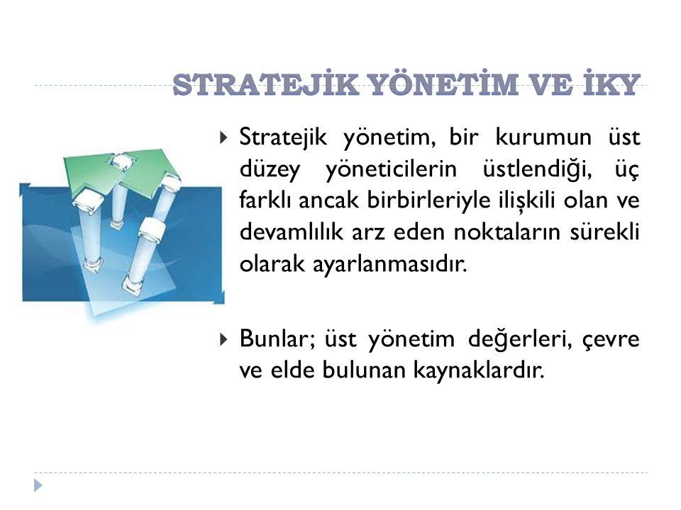  Stratejik yönetim, bir kurumun üst düzey yöneticilerin üstlendi ğ i, üç farklı ancak birbirleriyle ilişkili olan ve devamlılık arz eden noktaların s