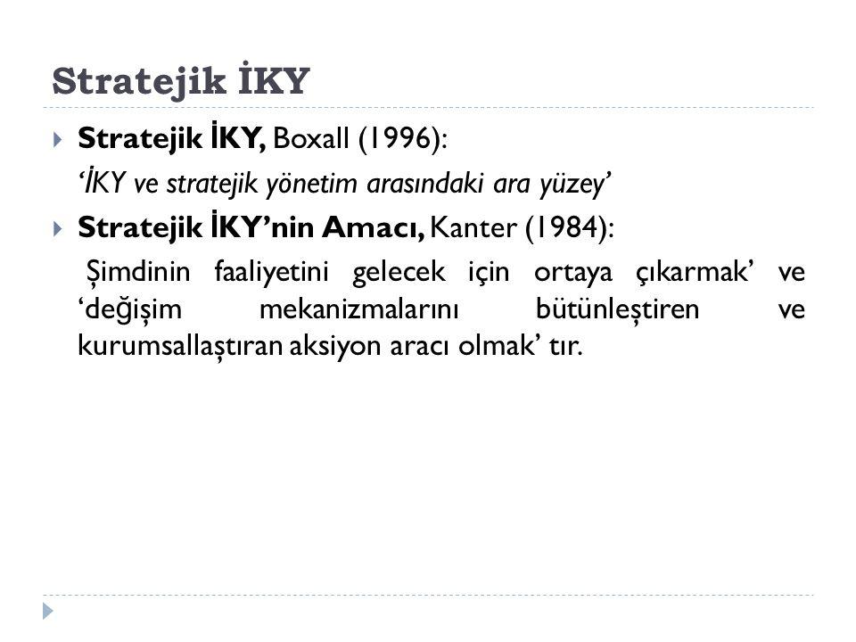 Stratejik İKY  Stratejik İ KY, Boxall (1996): ' İ KY ve stratejik yönetim arasındaki ara yüzey'  Stratejik İ KY'nin Amacı, Kanter (1984): Şimdinin faaliyetini gelecek için ortaya çıkarmak' ve 'de ğ işim mekanizmalarını bütünleştiren ve kurumsallaştıran aksiyon aracı olmak' tır.