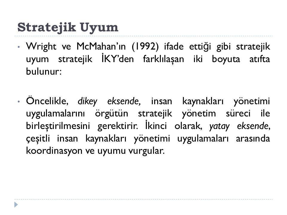 Stratejik Uyum Wright ve McMahan'ın (1992) ifade etti ğ i gibi stratejik uyum stratejik İ KY'den farklılaşan iki boyuta atıfta bulunur: Öncelikle, dikey eksende, insan kaynakları yönetimi uygulamalarını örgütün stratejik yönetim süreci ile birleştirilmesini gerektirir.