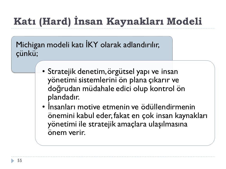 Katı (Hard) İnsan Kaynakları Modeli Michigan modeli katı İ KY olarak adlandırılır, çünkü; Stratejik denetim, örgütsel yapı ve insan yönetimi sistemlerini ön plana çıkarır ve do ğ rudan müdahale edici olup kontrol ön plandadır.