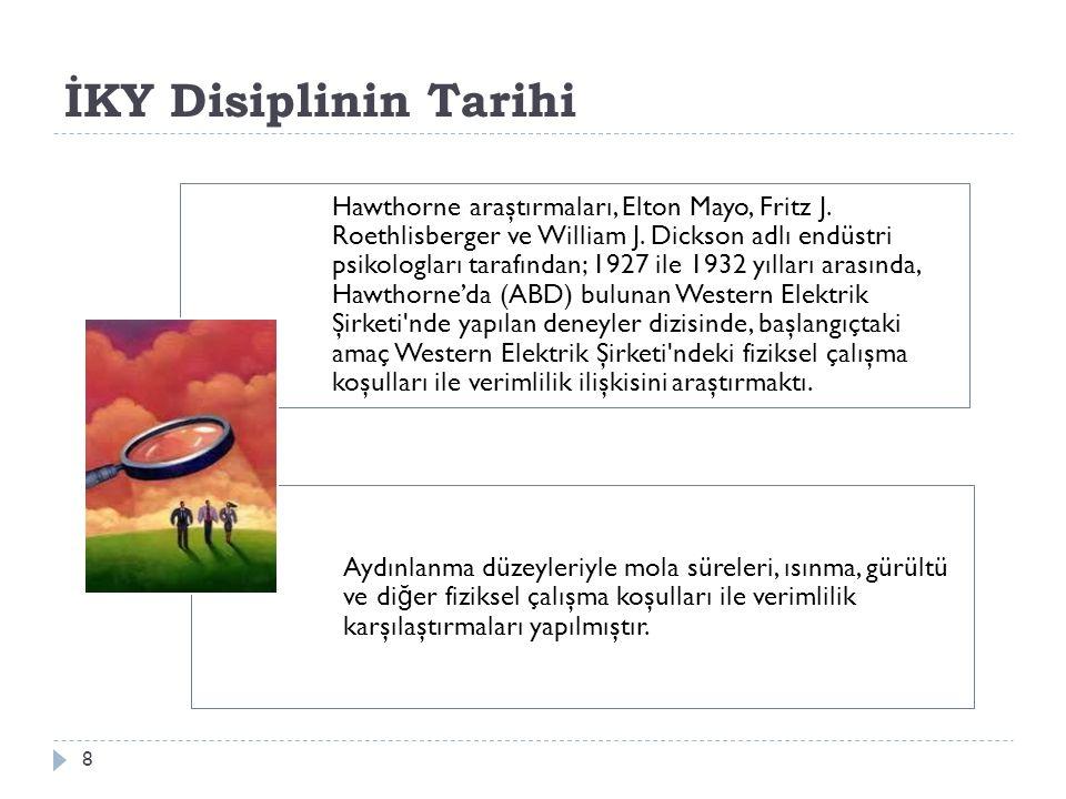 İKY Disiplinin Tarihi 8 Hawthorne araştırmaları, Elton Mayo, Fritz J.