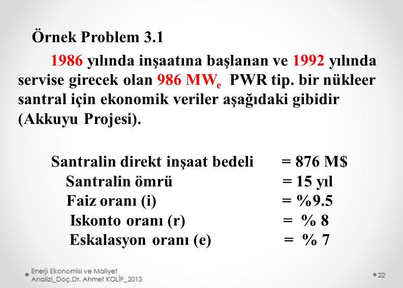 Örnek Problem 3.1 1986 yılında inşaatına başlanan ve 1992 yılında servise girecek olan 986 MW e PWR tip. bir nükleer santral için ekonomik veriler aşa