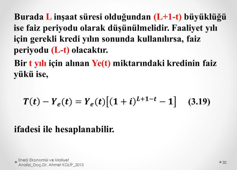 Enerji Ekonomisi ve Maliyet Analizi_Doç.Dr. Ahmet KOLİP_2013 30