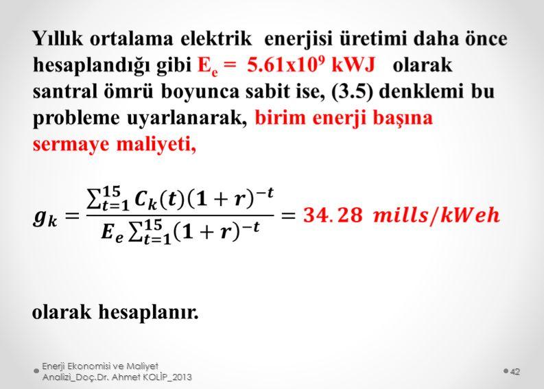 Enerji Ekonomisi ve Maliyet Analizi_Doç.Dr. Ahmet KOLİP_2013 42