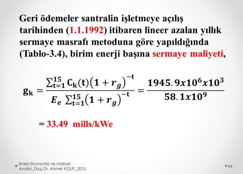 Enerji Ekonomisi ve Maliyet Analizi_Doç.Dr. Ahmet KOLİP_2013 54