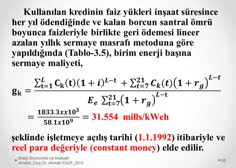 Enerji Ekonomisi ve Maliyet Analizi_Doç.Dr. Ahmet KOLİP_2013 55