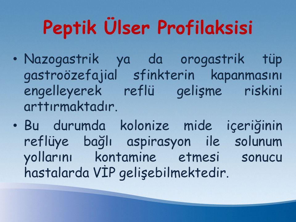 Peptik Ülser Profilaksisi Nazogastrik ya da orogastrik tüp gastroözefajial sfinkterin kapanmasını engelleyerek reflü gelişme riskini arttırmaktadır. B