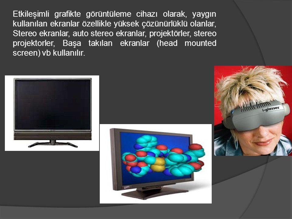Etkileşimli grafikte görüntüleme cihazı olarak, yaygın kullanılan ekranlar özellikle yüksek çözünürlüklü olanlar, Stereo ekranlar, auto stereo ekranlar, projektörler, stereo projektorler, Başa takılan ekranlar (head mounted screen) vb kullanılır.