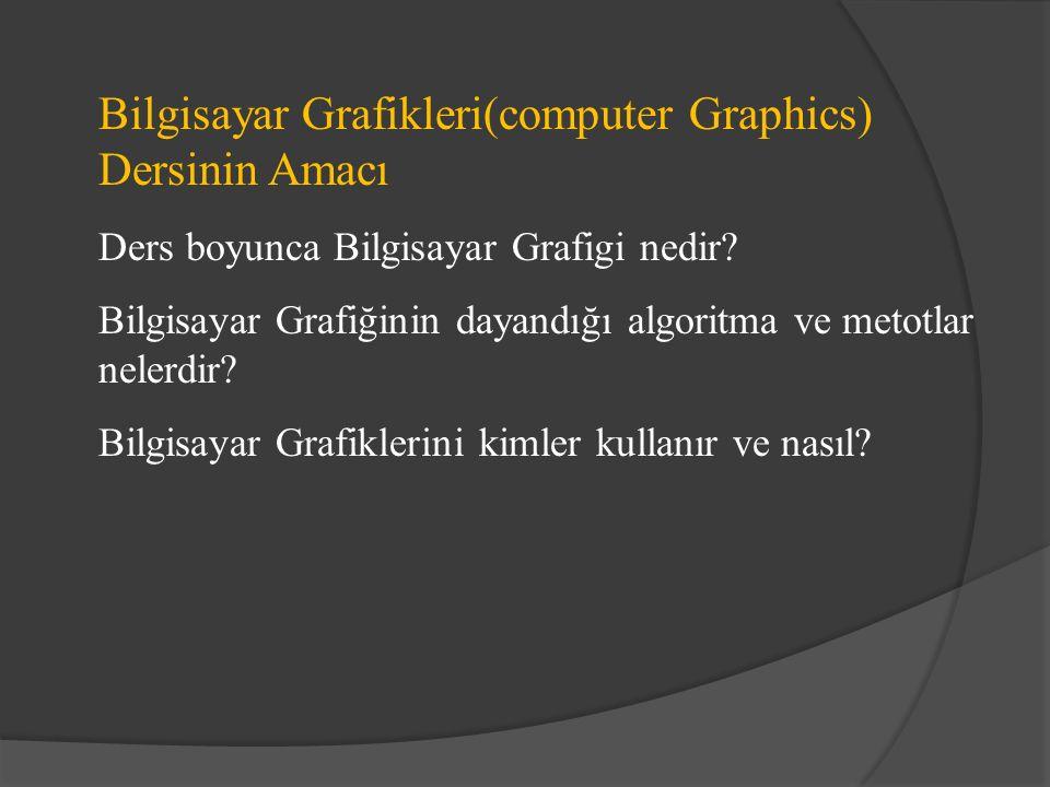Bilgisayar Grafikleri(computer Graphics) Dersinin Amacı Ders boyunca Bilgisayar Grafigi nedir.