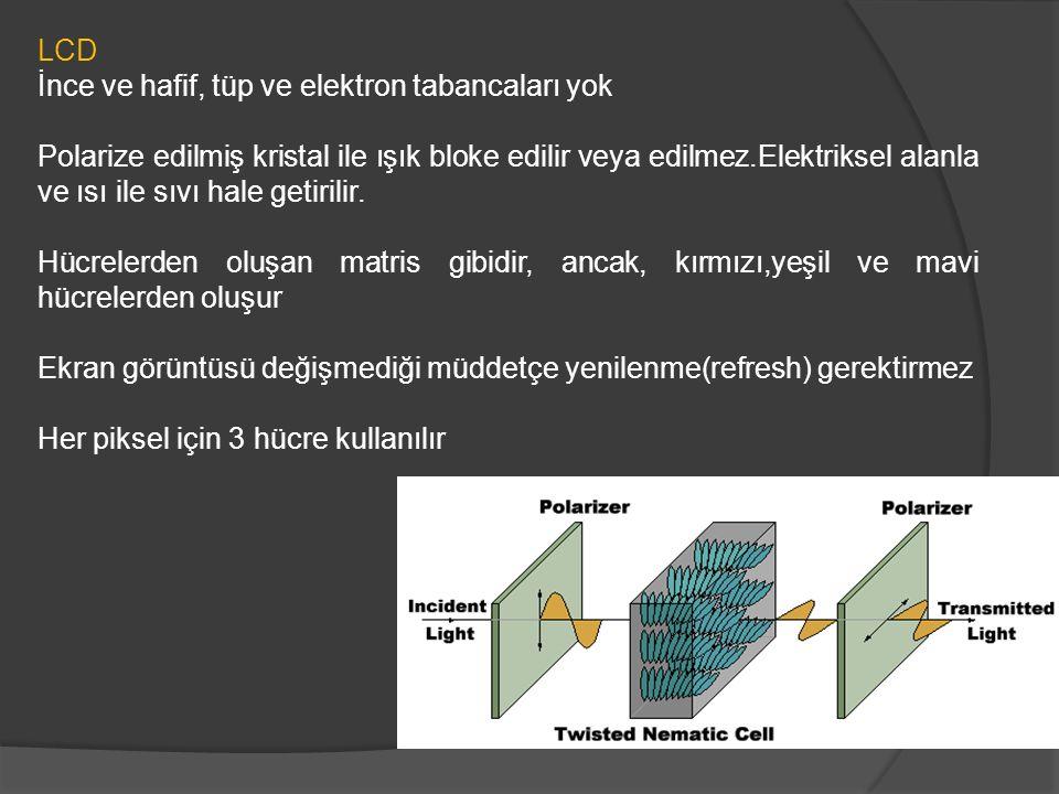 LCD İnce ve hafif, tüp ve elektron tabancaları yok Polarize edilmiş kristal ile ışık bloke edilir veya edilmez.Elektriksel alanla ve ısı ile sıvı hale getirilir.
