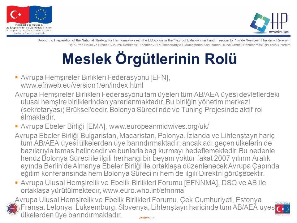 Meslek Örgütlerinin Rolü  Avrupa Hemşireler Birlikleri Federasyonu [EFN], www.efnweb.eu/version1/en/index.html Avrupa Hemşireler Birlikleri Federasyonu tam üyeleri tüm AB/AEA üyesi devletlerdeki ulusal hemşire birliklerinden yararlanmaktadır.