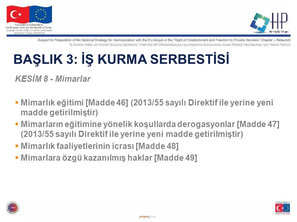 BAŞLIK 3: İŞ KURMA SERBESTİSİ KESİM 8 - Mimarlar  Mimarlık eğitimi [Madde 46] (2013/55 sayılı Direktif ile yerine yeni madde getirilmiştir)  Mimarların eğitimine yönelik koşullarda derogasyonlar [Madde 47] (2013/55 sayılı Direktif ile yerine yeni madde getirilmiştir)  Mimarlık faaliyetlerinin icrası [Madde 48]  Mimarlara özgü kazanılmış haklar [Madde 49] 9