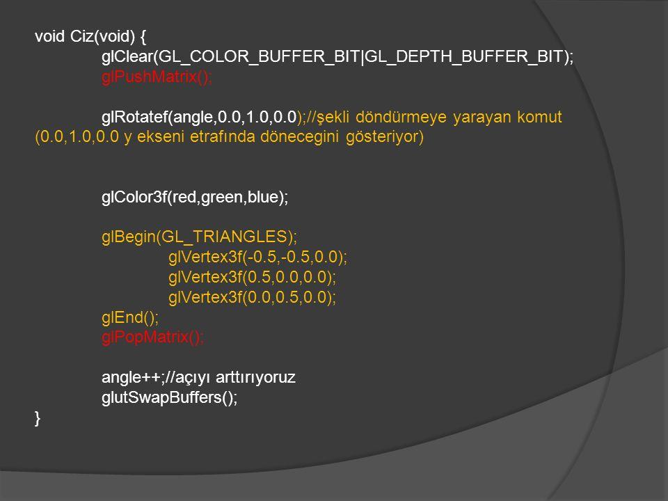 void Ciz(void) { glClear(GL_COLOR_BUFFER_BIT|GL_DEPTH_BUFFER_BIT); glPushMatrix(); glRotatef(angle,0.0,1.0,0.0);//şekli döndürmeye yarayan komut (0.0,