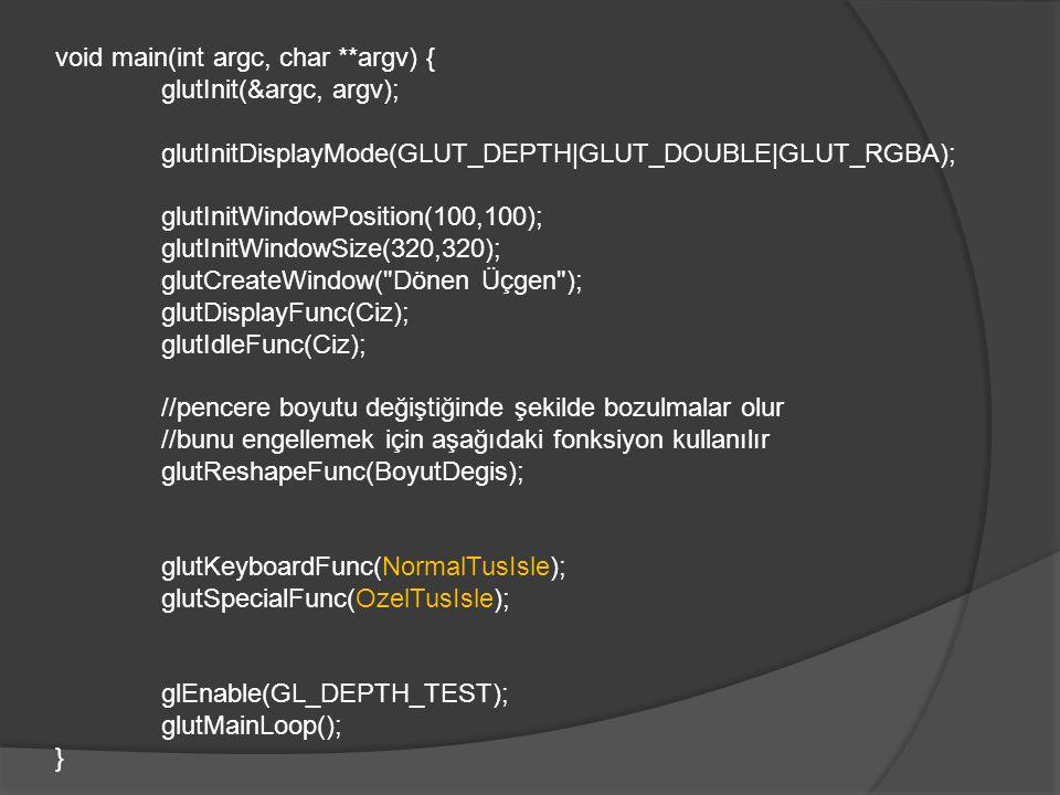 void main(int argc, char **argv) { glutInit(&argc, argv); glutInitDisplayMode(GLUT_DEPTH|GLUT_DOUBLE|GLUT_RGBA); glutInitWindowPosition(100,100); glut