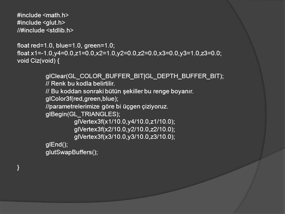 void OzelTusİsle(int key, int x, int y) { switch(key) { case GLUT_KEY_F1 : red = 1.0; green = 0.0; blue = 0.0; break; case GLUT_KEY_F2 : red = 0.0; green = 1.0; blue = 0.0; break; case GLUT_KEY_F3 : red = 0.0; green = 0.0; blue = 1.0; break; case GLUT_KEY_LEFT: //x parametreleri azaltılıyor dolayısıylada şekil sola kaydırılıyor.